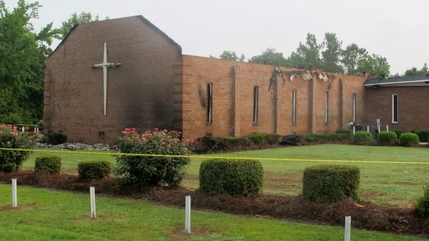 The Mount Zion AME Church in Greeleyville, S.C., is seen Wednesday after it was heavily damaged by fire. The church was the target of arson by the Ku Klux Klan two decades ago. There were heavy thunderstorms in the area when the fire broke out and investigators are working to determine the cause.
