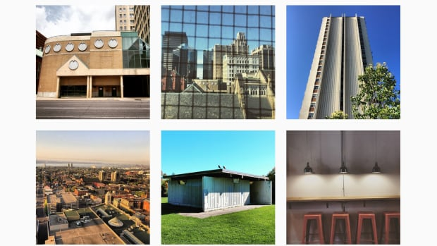 A series of Rebuild Hamilton photos posted to Instagram show a post-modern parking garage, a concrete apartment building, a public washroom, a view of the North End and the decor of a cafe.