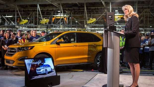 Ford Canada CEO Dianne Craig, seen here at her company's Oakville, Ont., facility last year, has been warning of dire consequences for the auto sector ever since the TPP was negotiated last fall. She's asking the federal and provincial governments to do more to protect the auto business.