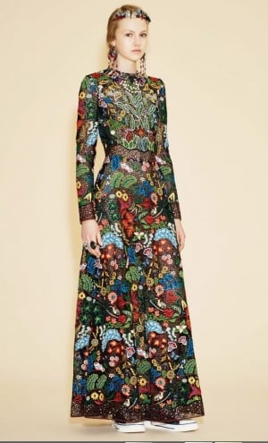 Valentino dress featuring designs from artist Christi Belcourt