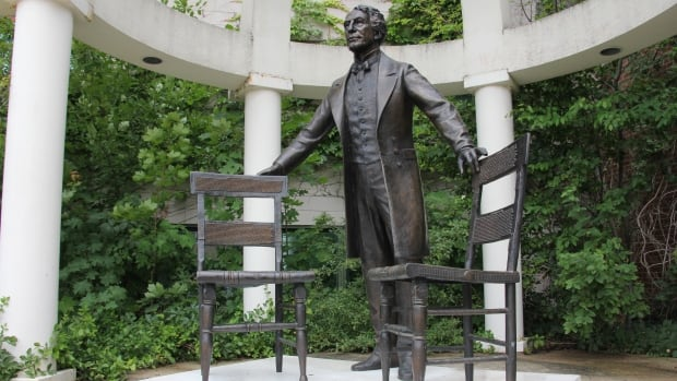"Sculptor Ruth Abernethy included over 30 ""Easter eggs"" in the statue - symbols that represent key moments in Sir John A. Macdonald's personal and political life."