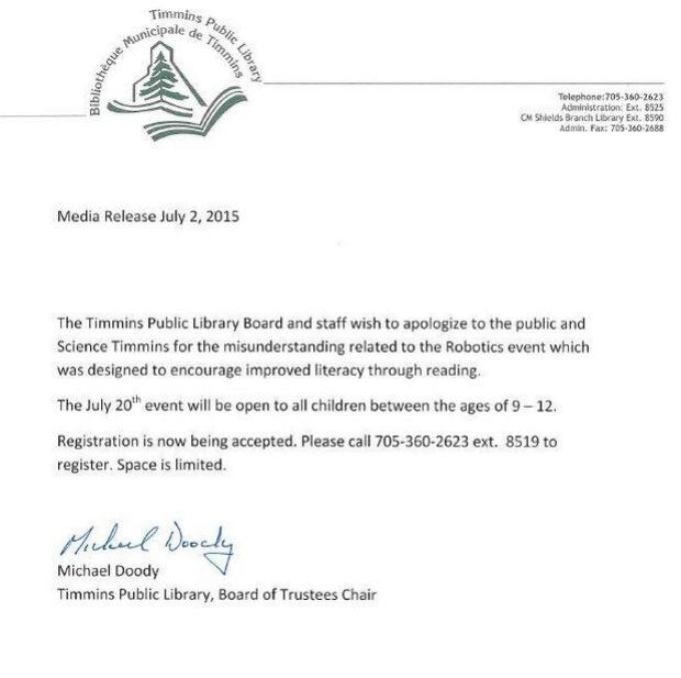 Timmins public library letter