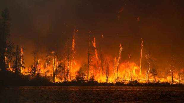The Egg fire sears a peninsula jutting out onto Lac La Ronge.