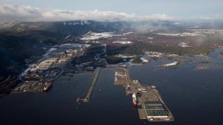 An aerial view of Kitimat B.C., where Rio Tinto operates