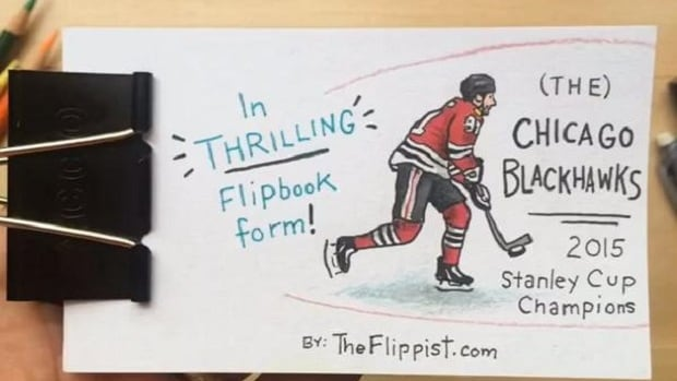 Hand-animated flipbook created by 'theflippist', highlighting the Chicago Blackhawks 2014-15 Stanely Cup victory over the Tampa Bay Lightning.