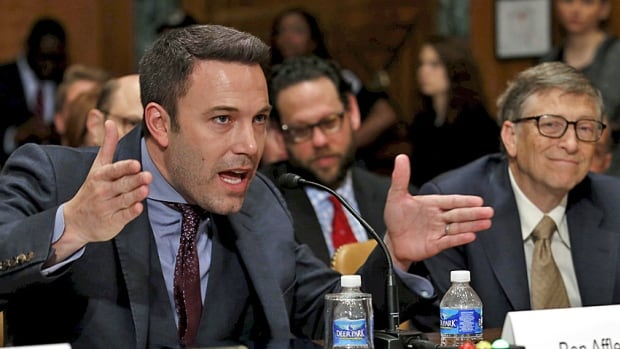Doing the right thing? Actor Ben Affleck, founder of the Eastern Congo Initiative, and Microsoft founder and philanthropist Bill Gates, make their case for development aid before a Senate committee in March.