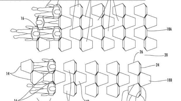 A patent for the Economy Class Cabin Hexagon would make passengers sit opposite of people sitting next to them, saving space but also forcing potentially awkward face-to-face encounters.