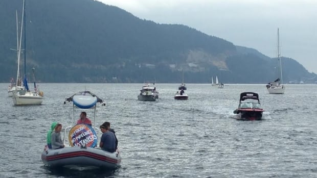 Dozens of boats gathered in Howe Sound near Horeshoe Bay in July 2015 as part of a protest against the proposed Woodfibre LNG plant in Squamish.