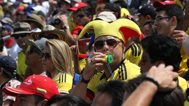 A Colombia supporter attends a Pan Am Games soccer match at Hamilton's Tim Hortons Field stadium last July. The brother of Bogota's mayor has taken exception to recent comments by Lloyd Ferguson, an Ancaster councillor, during a city hall committee meeting this week.