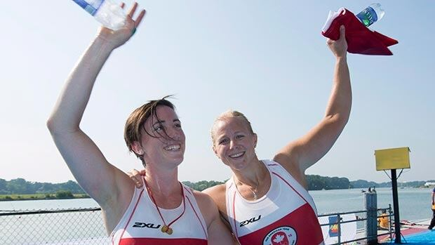 Canadians Kerry Shaffer, right, and Antje von Seydlitz celebrate their gold medal victory in the women's double skulls at the Pan Am Games Monday.
