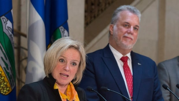 Alberta Premier Rachel Notley met with Quebec Premier Philippe Couillard on Tuesday before both headed for the Council of the Federation meeting in St. John's.
