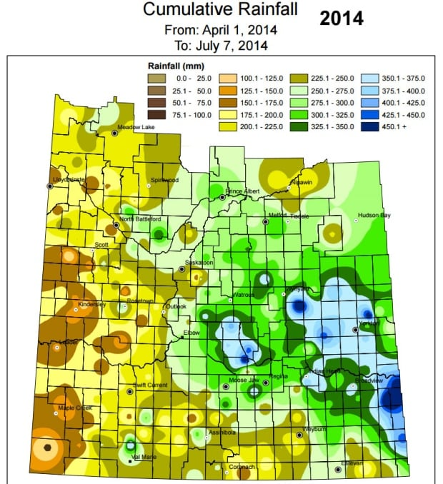 Rainfall map for 2014 (April 1 to July 7)