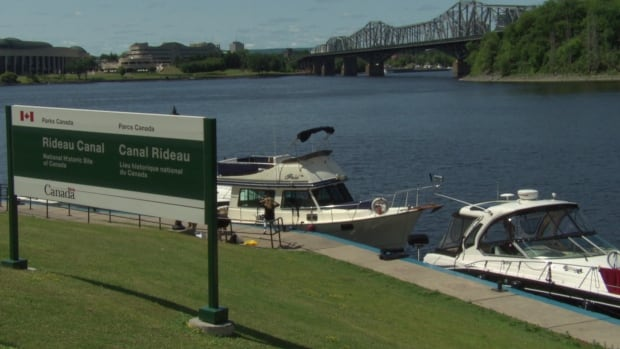 Boats were lined up in the Ottawa River waiting to enter the Rideau Canal as workers repaired a broken lock.