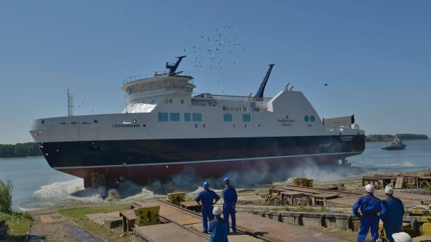 The MV Legionnaire was officially launched in Bucharest, Romania on Wednesday. The $100-million vessel is expected to be on the Bell Island run by March 2016.