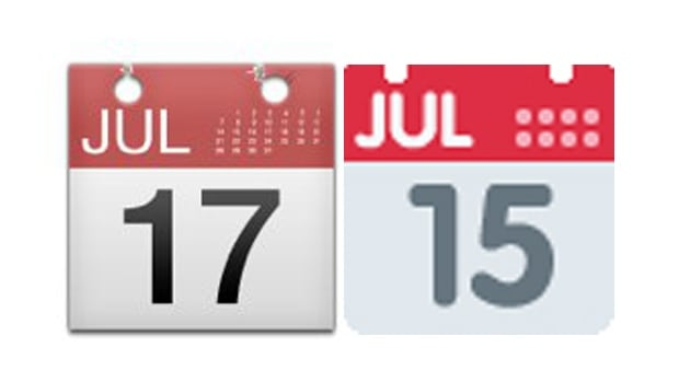 The emoji for the calendar shows different dates on iOS and on Twitter.com.
