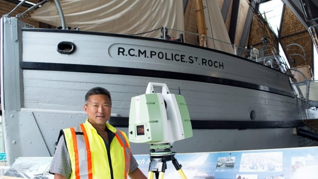 George Liu of Absolute Space Engineering with the device used to scan the St. Roch