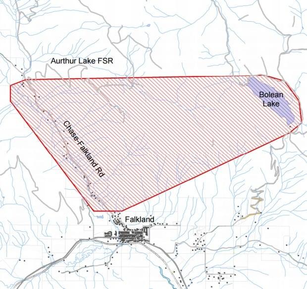 Evacuation alert map Bolean Lake wildfire