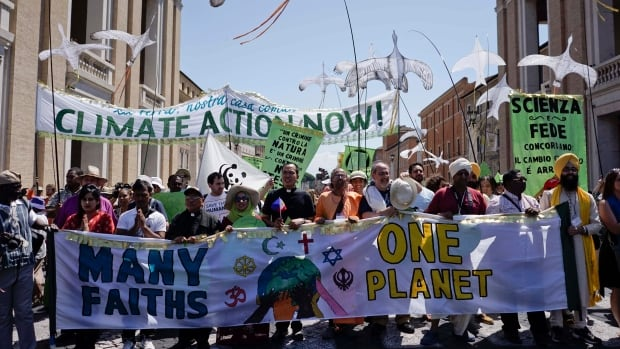 Demonstrators gather outside the Vatican in June called for more global action on climate change. Pope Francis has made the environment a key issue of his papacy.