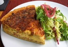 Parc Café's quiche with double smoked bacon and gruyere cheese