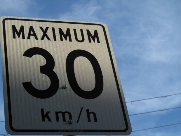 Speed limits Rossland 30 km/h