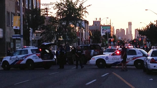 Toronto police have shut down a section of Danforth Avenue, between Coxwell and Woodbine, to investigate following a shooting that sent one man to hospital.