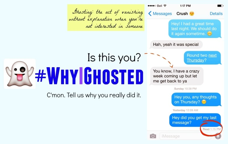 Earlier this week we asked you to tell us why you ghosted on someone you  weren't that into. We read some of your replies on air, but clear your  conscience ...