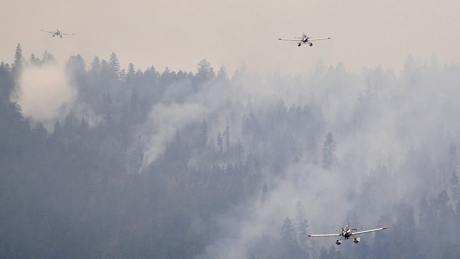 A trio of single engine water bombers return to Okanagan Lake for more water during efforts to fight the Westside Road wildfire in Kelowna, B.C., July 23, 2015.