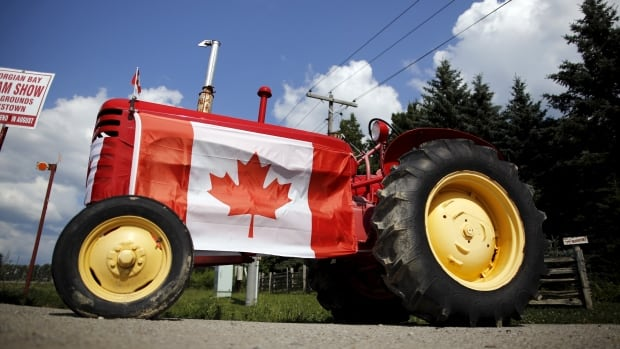 A tractor sports a Canadian flag in Oro-Medonte, Ont. Pacific Rim trade ministers meet in Hawaii Tuesday for talks on an ambitious trade deal. But access for farm products, one of the issues, makes it a tough deal to negotiate on the eve of an election.