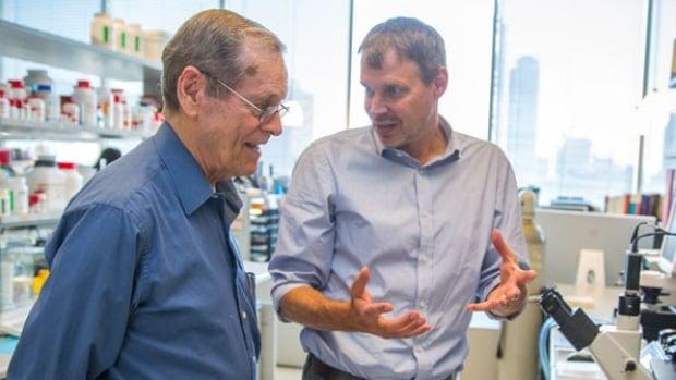 University Professor Emeritus James Till and Professor Peter Zandstra (photo by James Poremba)