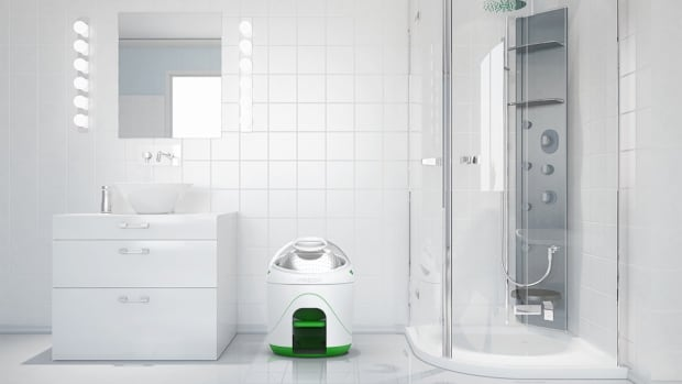 The Drumi is about the size of a water cooler bottle and is powered with a foot pedal, making it suitable for use in both micro-condos crowded urban areas and in remote areas of the developing world.