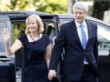 Canada's Prime Minister Stephen Harper takes part in a news conference at Rideau Hall.