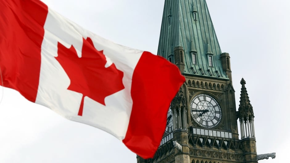 The Canadian flag flies on Parliament Hill in Ottawa.