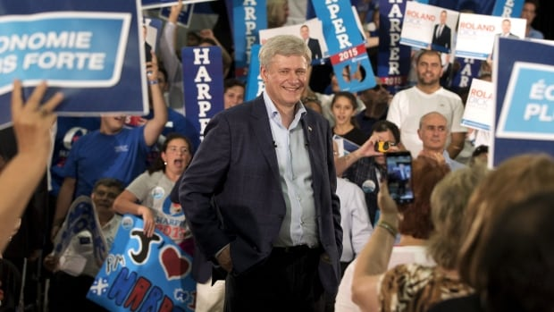 Prime Minister Stephen Harper speaks to supporters during a rally in Montreal, Que., on Aug. 2, 2015. Of all the parties, his supporters are the most committed.