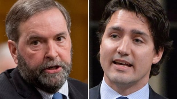 NDP Leader Tom Mulcair and Liberal Leader Justin Trudeau are facing off on the issue of balanced budgets, as Mulcair promises to balance the books while Trudeau said this week that a Liberal government would run three deficits before getting back to surplus.