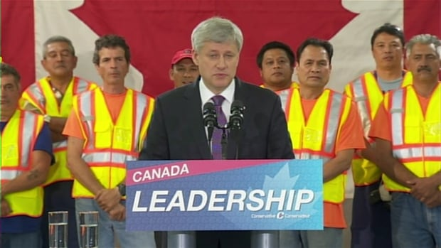 Conservative Party Leader Stephen Harper was in Toronto on Tuesday, where he criticized Ontario Premier Kathleen Wynne, who has said she will campaign hard for Liberal Leader Justin Trudeau.