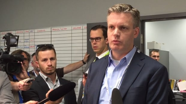 Conservative Party spokesman Kory Teneycke speaks the media Tuesday, Aug. 4, 2015.