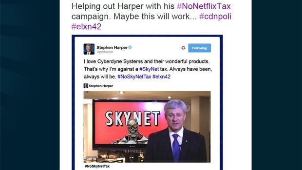 Twitter users had a field day with Prime Minister Stephen Harper's Twitter video about the threat of a 'Netflix tax' for Canadians.