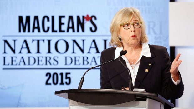 Green Party Leader Elizabeth May speaks during the Maclean's National Leaders' debate in Toronto, Aug. 6, 2015. Canadians go to the polls in a national election on Oct. 19, 2015.