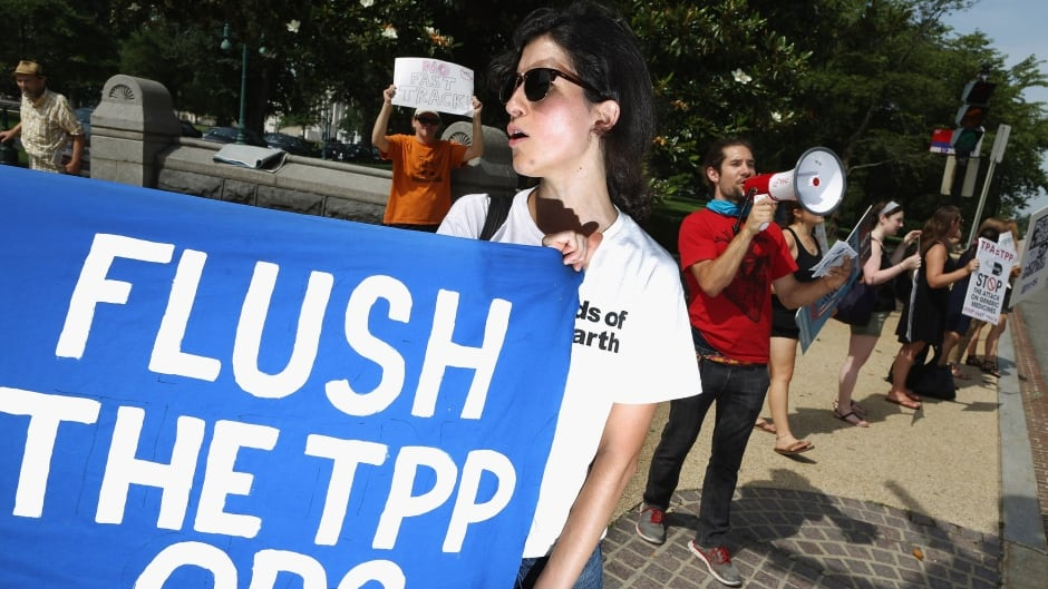 Demonstrators rally against the Trans-Pacific Partnership trade and investment agreement outside the U.S. Senate office buildings on Capitol Hill in Washington, June 23, 2015.
