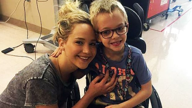 Jennifer Lawrence stopped by the Shriners Hospital while in Montreal shooting the next instalment of the X-Men movie franchise.