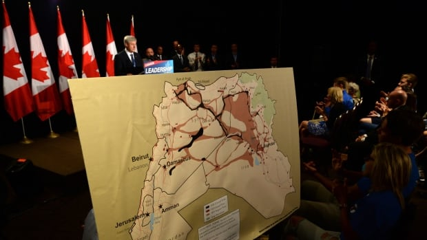 Stephen Harper showed a map of ISIS-controlled zones during his campaign stop in Ottawa and said parts of Syria and Iraq would likely be among the places he would forbid Canadians to travel to if re-elected.