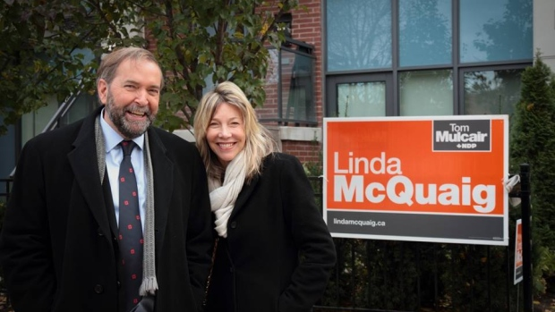 Linda McQuaig, right, stirred controversy for the NDP and leader Tom Mulcair with her comments about the oilsands last week.