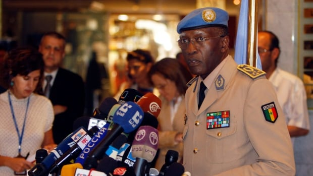 General Babacar Gaye, shown in a 2012 file photo, defended the response of his unit in Central African Republic, which included the repatriation of a number of peacekeepers.