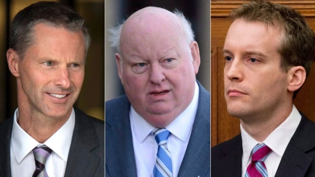 The trial of Senator Mike Duffy, centre, has heard about emails between former chief of staff Nigel Wright, left, senior aide Ray Novak, right, and other Conservative colleagues in the PMO and the Senate.