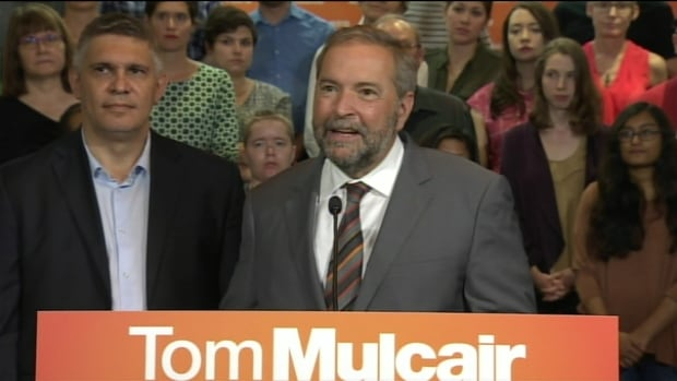 NDP Leader Tom Mulcair introduced former Saskatchewan finance minister Andrew Thomson during a campaign stop in the Toronto riding of Eglinton-Lawrence Friday. The former provincial politician, who now works in Toronto, will run for the New Democrats federally in what's expected to be a difficult race.