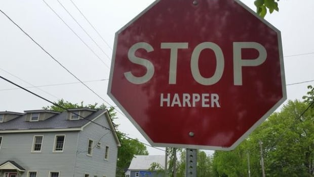 """STOP Harper"" signs have popped up across the country over the years, but they seem to be making a comeback in the small city of Prince Rupert."