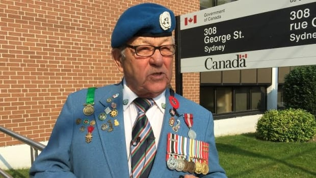 Veteran Ron Clarke launches the Anyone But Conservative campaign outside the closed Veterans Affairs office in Sydney. It's an effort to oust the Harper government over changes to services for vets.