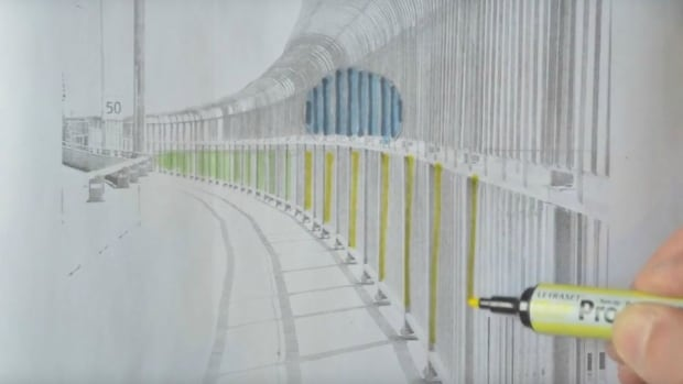 An artistic rendition of what the pilot project art will look like on the Jacques Cartier Bridge.