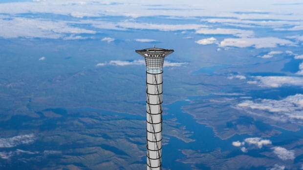 The final part of the 20km-tall space elevator platform recently patented by Thoth Technology of Pembroke, Ont. is shown in this artist's concept.