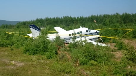 Beechcraft A100 goes off the Margaree airstrip